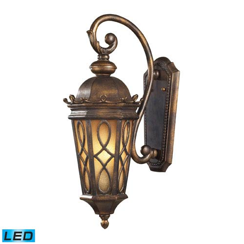 Elk Lighting Burlington Junction Two Light LED Wall Sconce In Hazlenut Bronze And Amber Scavo Glass