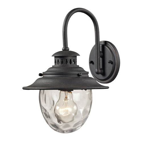 Elk Lighting Searsport One Light Outdoor Wall Sconce In Weathered Charcoal