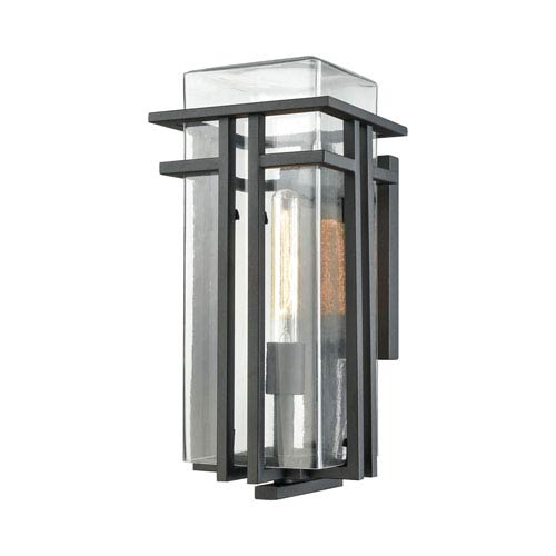 Croftwell Textured Matte Black 8-Inch One-Light Outdoor Wall Lantern