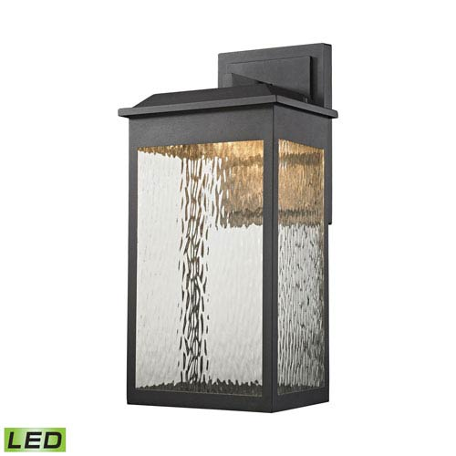Elk Lighting Newcastle Textured Matte Black 11-Inch One-Light Outdoor Wall Lantern