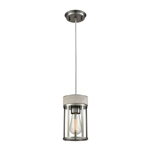 Urban Form Black Nickel 5-Inch One-Light Mini Pendant with Concrete Accent