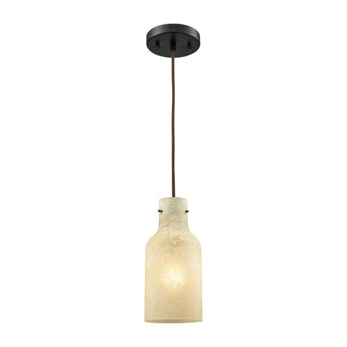 Elk Lighting Weatherly Oil Rubbed Bronze 5-Inch One-Light Mini Pendant with Chalky Beige Glass