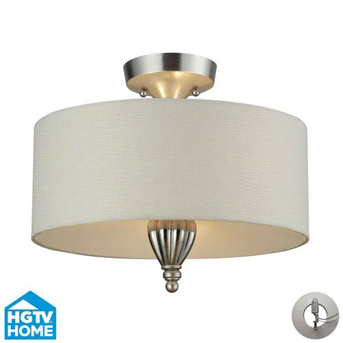 Elk Lighting Martique Three Light Semi Flush In Chrome And Silver Leaf Includes An Adapter Kit to easily convert a  Recessed