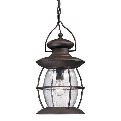 Village Lantern Weathered Charcoal One Light Outdoor Pendant