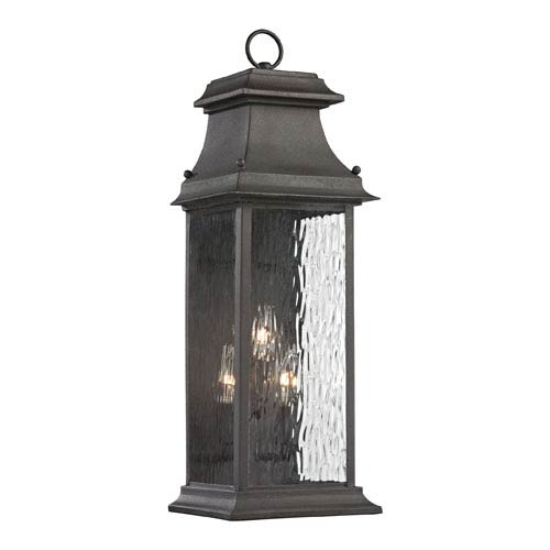 Elk Lighting Forged Provincial Charcoal 23-Inch Three Light Outdoor Wall Sconce