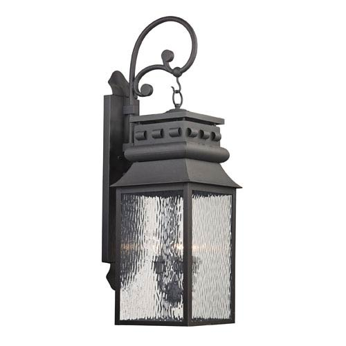 Elk Lighting Forged Lancaster Charcoal Three Light Outdoor Wall Sconce
