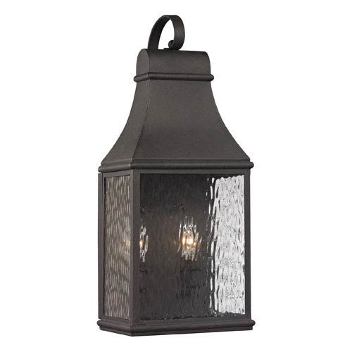 Forged Jefferson Charcoal 19-Inch Two Light Outdoor Wall Sconce