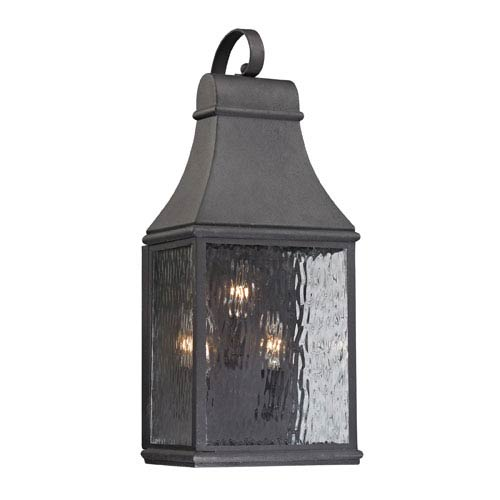 Forged Jefferson Charcoal 22-Inch Three Light Outdoor Wall Sconce