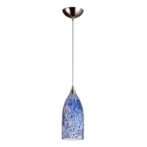 Elk Lighting Verona One Light LED Pendant In Satin Nickel And Starlight Blue Glass