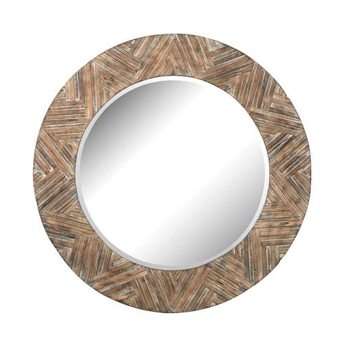 Natural Drift Wood 48-Inch Round Mirror