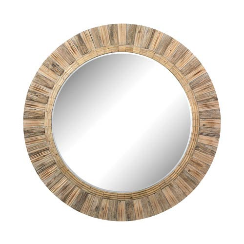Natural Drift Wood 64-Inch Round Mirror