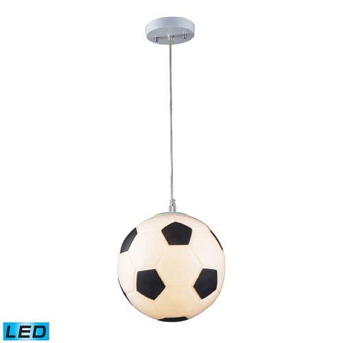 Novelty One Light LED Soccer Ball Pendant In Silver
