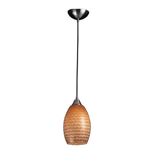 Elk Lighting Mulinello One Light LED Pendant In Satin Nickel With Coco Glass