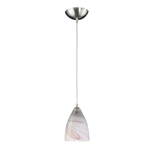 Elk Lighting Pierra One Light LED Pendant In Satin Nickel And Creme Glass