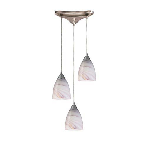 Pierra Satin Nickel Three-Light Mini Pendant with Creme Glass