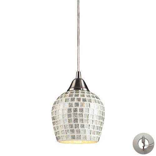 Elk Lighting Tromba One Light Pendant In Satin Nickel And Silver Mosaic Glass Includes w/ An Adapter Kit