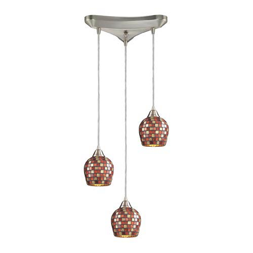 Elk Lighting Fusion Satin Nickel Three-Light Mini Pendant with Multi Mosaic Glass