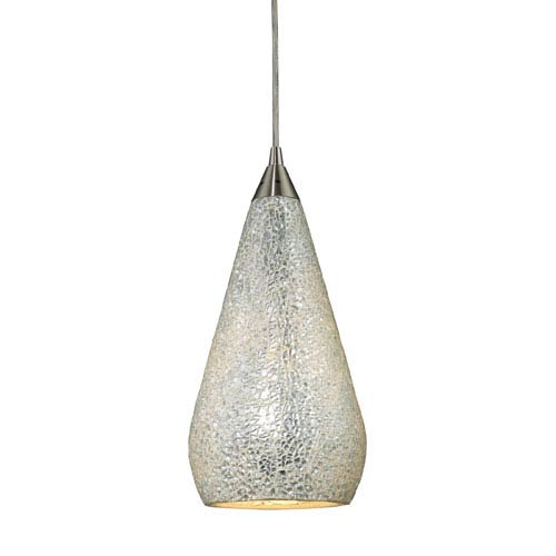 Elk Lighting Curvalo One Light LED Pendant In Satin Nickel With Silver Crackle