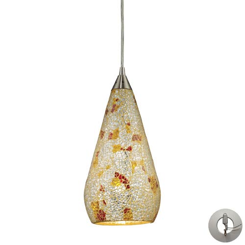 Elk Lighting Curvalo One Light Pendant In Satin Nickel With Silver Multi-Colored Crackle Includes w/ An Adapter Kit