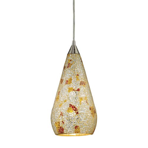 Elk Lighting Curvalo One Light LED Pendant In Satin Nickel With Silver Multi-Colored Crackle