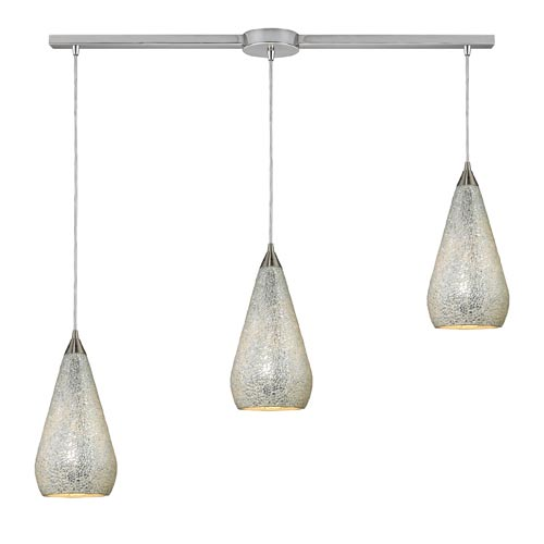 Elk Lighting Curvalo Satin Nickel Three-Light Mini Pendant with Silver Crackle Glass