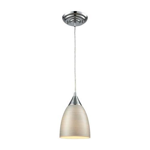 Elk Lighting Merida Polished Chrome 6-Inch One-Light Mini Pendant with Silver Linen Glass