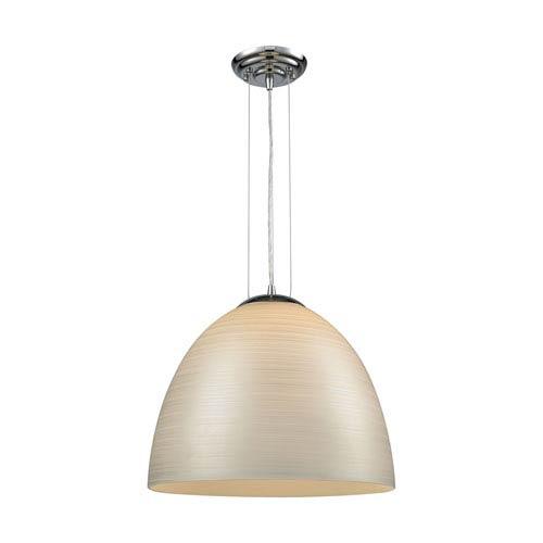 Elk Lighting Merida Polished Chrome 15-Inch One-Light Pendant with Silver Linen Glass