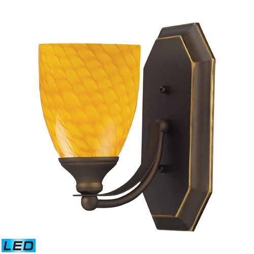Elk Lighting Vanity One Light LED Bath Fixture In Aged Bronze And Canary Glass
