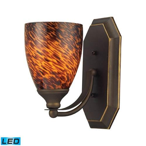 Elk Lighting Vanity One Light LED Bath Fixture In Aged Bronze And Espresso Glass