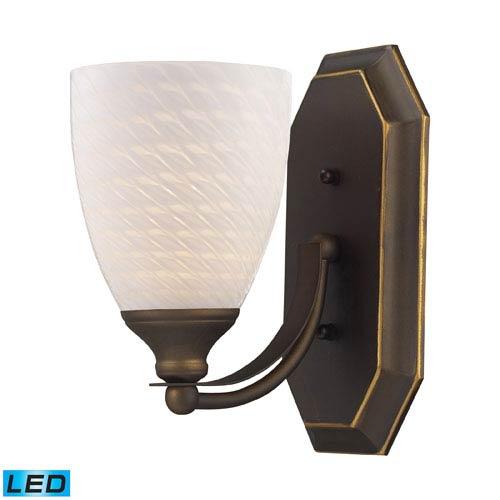 Elk Lighting Vanity One Light LED Bath Fixture In Aged Bronze And White Swirl Glass