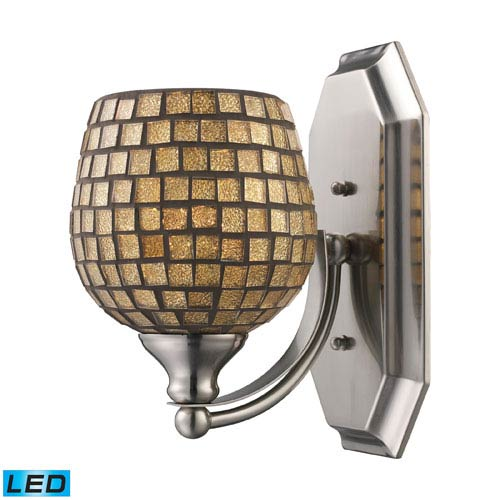 Vanity One Light LED Bath Fixture In Polished Chrome And Gold Mosaic Glass