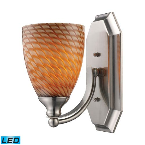 Elk Lighting Vanity One Light LED Bath Fixture In Satin Nickel And Coco Glass