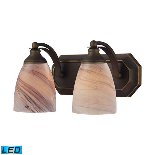 Elk Lighting Vanity Two Light LED Bath Fixture In Aged Bronze And Creme Glass