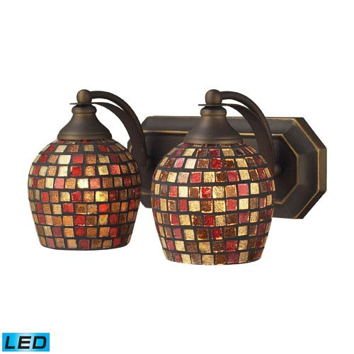 Elk Lighting Vanity Two Light LED Bath Fixture In Aged Bronze And Multi Mosaic Glass