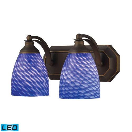 Vanity Two Light LED Bath Fixture In Aged Bronze And Sapphire Glass