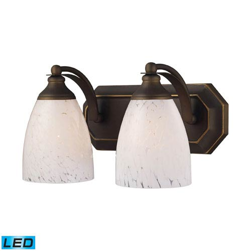 Elk Lighting Vanity Two Light LED Bath Fixture In Aged Bronze And Snow White Glass