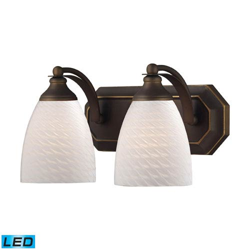 Elk Lighting Vanity Two Light LED Bath Fixture In Aged Bronze And White Swirl Glass