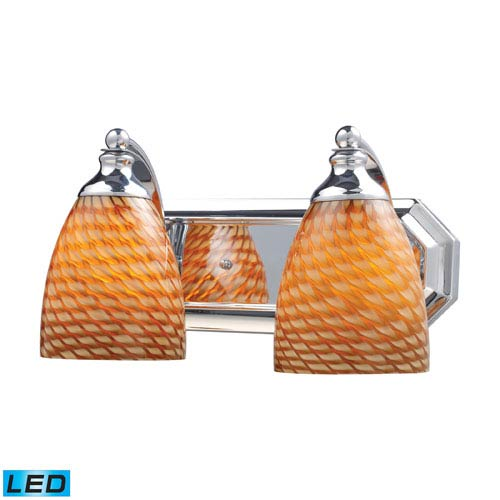 Vanity Two Light LED Bath Fixture In Polished Chrome And Coco Glass