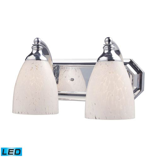 Elk Lighting Vanity Two Light LED Bath Fixture In Polished Chrome And Snow White Glass