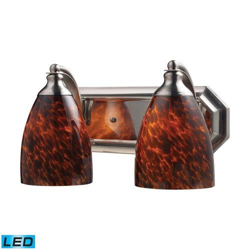 Elk Lighting Vanity Satin Nickel 14-Inch Replaceable LED Two Light Bath Fixture