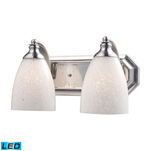 Elk Lighting Vanity Two Light LED Bath Fixture In Satin Nickel And Snow White Glass