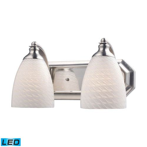 Elk Lighting Vanity Two Light LED Bath Fixture In Satin Nickel And White Swirl Glass
