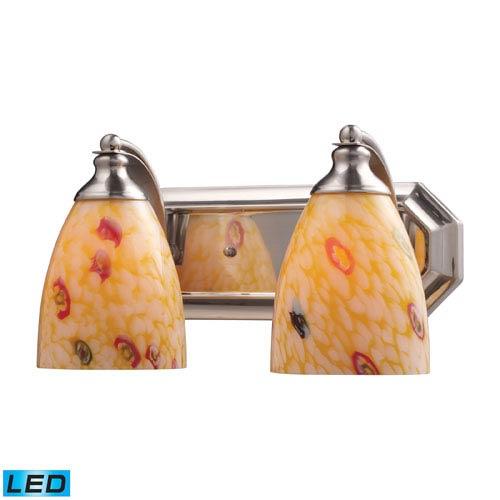 Elk Lighting Vanity Two Light LED Bath Fixture In Satin Nickel And Yellow Blaze Glass