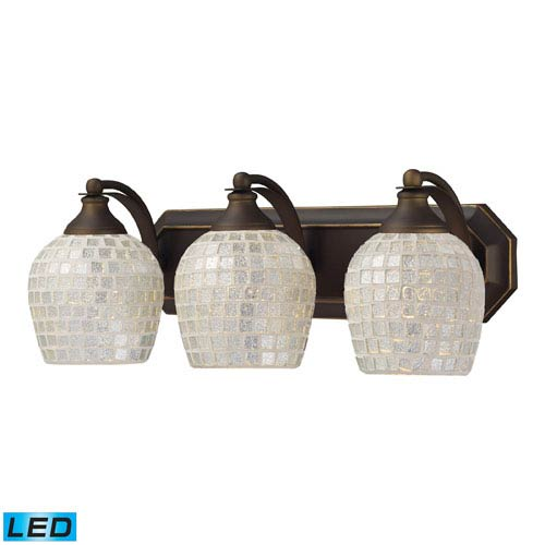 Vanity Three Light LED Bath Fixture In Aged Bronze And Silver Mosaic Glass