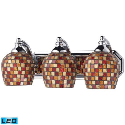 Vanity Three Light LED Bath Fixture In Polished Chrome And Multi-Colored Mosaic Glass
