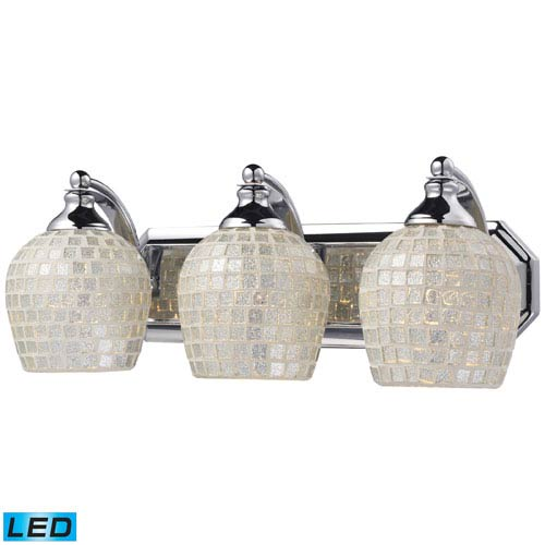 Elk Lighting Vanity Three Light LED Bath Fixture In Polished Chrome And Silver Mosaic Glass
