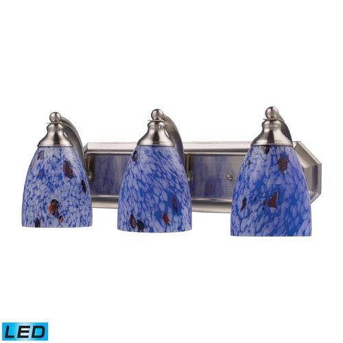 Elk Lighting Vanity Three Light LED Bath Fixture In Satin Nickel And Starburst Blue Glass