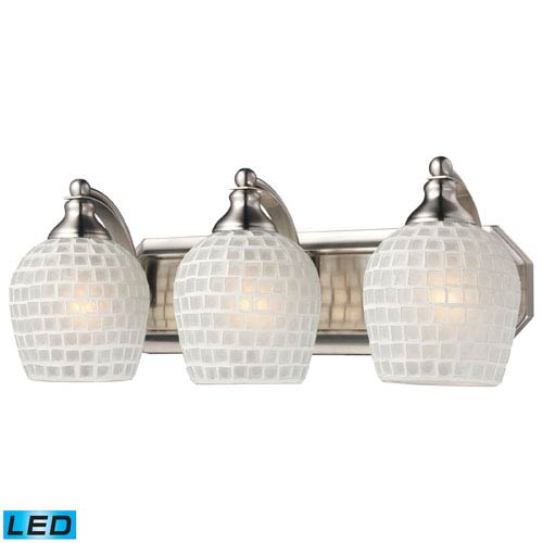 Elk Lighting Vanity Three Light LED Bath Fixture In Satin Nickel And White Mosaic Glass
