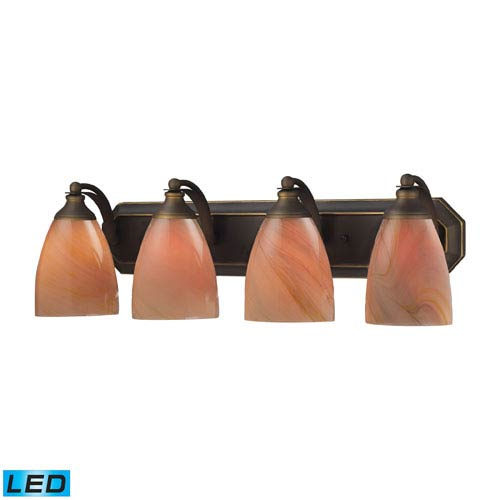 Elk Lighting Vanity Four Light LED Bath Fixture In Aged Bronze And Sandy Glass