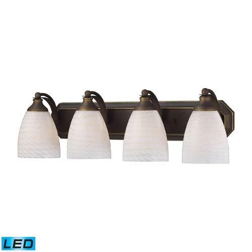 Elk Lighting Vanity Four Light LED Bath Fixture In Aged Bronze And White Swirl Glass